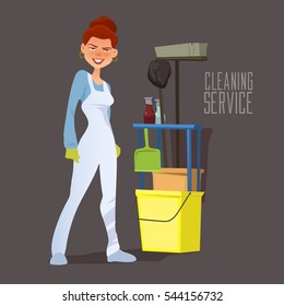 cleaning staff, cartoon character with cleaning equipment in cartoon style, friendly smiling worker, cleaning service, vector illustration