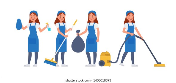 Cleaning staff character vector design no12