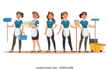 Cleaning staff characters design. Happy Cleaning. Cleaning company vector concept design.