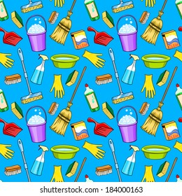 Cleaning supplies cartoon set