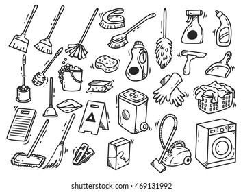 Cleaning supplies doodle isolated on white background