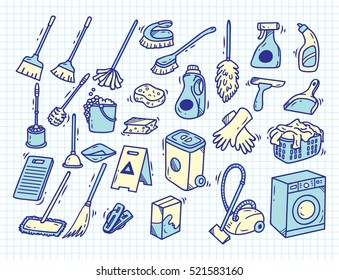 Cleaning supplies doodle on paper background