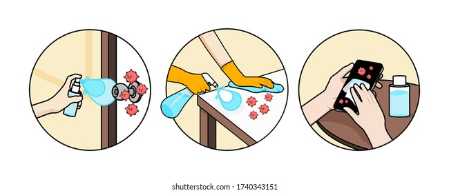 Cleaning the surface touching with antiseptic for prevent infection of Covid-19 virus. Vector illustration