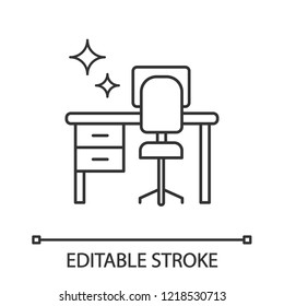 Cleaning table desk linear icon. Thin line illustration. Keeping workplace clean. Tidy home or office desk. Contour symbol. Vector isolated outline drawing. Editable stroke