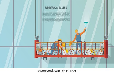 Cleaning team staff cleaning windows skyscrapers with cleaning tools, vector illustration