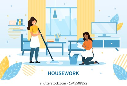 Cleaning team with two maids in aprons doing the housework dusting and mopping the floor, colored vector illustration