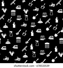 Cleaning tool icon series in single color. Seamless pattern. Background vector illustration.