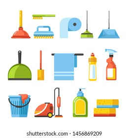 Cleaning tools isolated icons brushes and detergents vacuum cleaner vector, plunger and toilet paper broom and scooper towel and sprayer bucket and cloth soap and sponges household items and housework