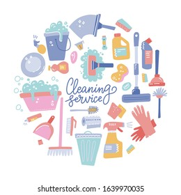 Cleaning tools round composition. Set of cleaning equipment. Collection of housekeeping symbols in doodle hand drawn style. Color conceptual vector illustration
