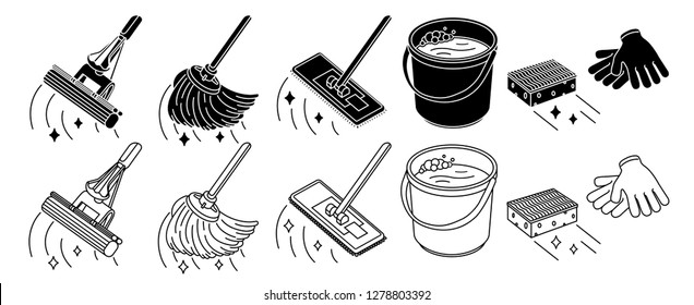 Cleaning tools set, mop, bucket thin line icon, isolated on white. Vector illustration.
