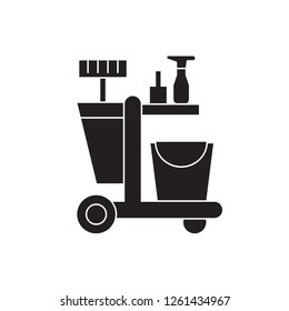 cleaning trolley black vector concept icon.  cleaning trolley flat illustration, sign