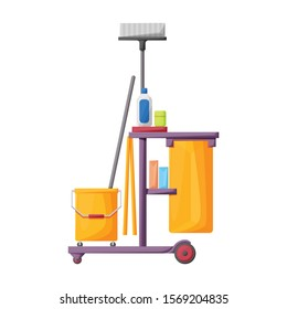 Cleaning of trolley vector icon.Cartoon vector icon isolated on white background cleaning trolley.