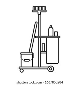 Cleaning of trolley vector icon.Outline vector icon isolated on white background cleaning trolley.
