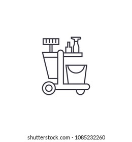 cleaning trolley vector line icon, sign, illustration on background, editable strokes