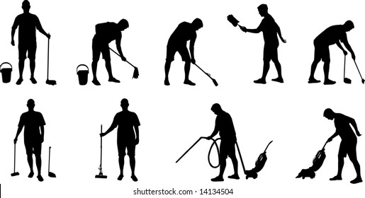 cleaning and vacuuming silhouettes