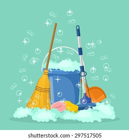 Cleaning vector flat cartoon illustration