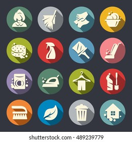 Cleaning vector icon set