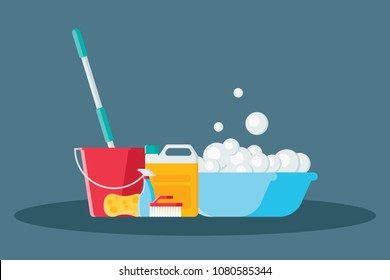 Cleaning vector illustration in modern flat style. Collection of mop, sponge, red bucket, cleaning products in bottles, brush and plastic basin with soap suds isolated on blue background.