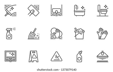 Cleaning Vector Line Icons Set. Housekeeping and Room Service, Cleaning Service, Cleaning Residential and Office Space. Editable Stroke. 48x48 Pixel Perfect.