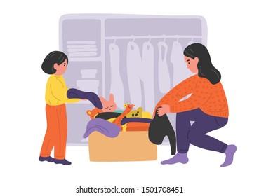Cleaning wardrobe. Mother and daughter putting away things from wardrobe to cardboard box. Vector illustration. Donation concept.
