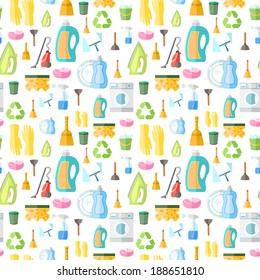 Cleaning washing housework dishes broom bottle sponge icons seamless pattern vector illustration