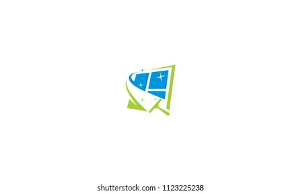 cleaning window glass logo icon vector