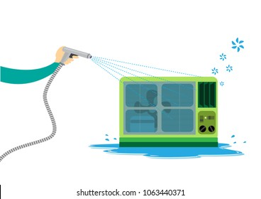 Cleaning the Window type Air Conditioning system using water. Editable Clip Art.