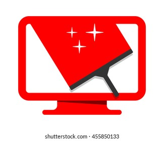 cleaning wiper the red monitors computer laptop technology image vector