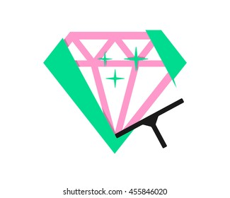 cleaning wiper sparkling diamond emerald crystal jewel image vector icon