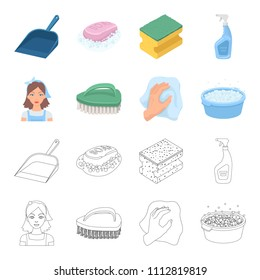 A cleaning woman, a housewife in an apron, a green brush, a hand with a rag, a blue wash hand basin with foam. Cleaning set collection icons in cartoon,outline style vector symbol stock illustration