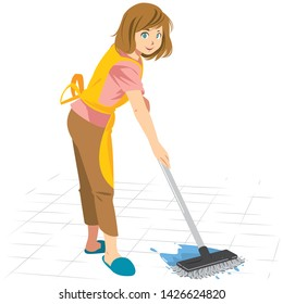 Cleaning Woman Mop the floor