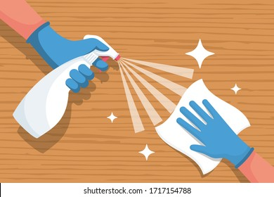 Cleaning wooden surface home or office. Spraying antibacterial sanitizing spray. Pollution prevention. Spray detergent. Napkin in hands. Protective rubber gloves. Hygiene home. Vector flat design.
