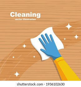 Cleaning wooden surface home or office. Pollution prevention. Napkin in hands. Protective rubber gloves. Hygiene home. Vector flat design.