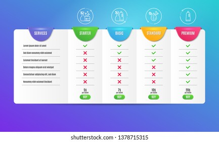 Cleanser spray, Shampoo and spray and Dirty water icons simple set. Comparison table. Shampoo sign. Washing liquid, Washing liquids, Aqua drop. Bath cleanser. Cleaning set. Pricing plan. Vector