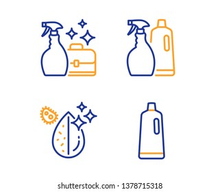 Cleanser spray, Shampoo and spray and Dirty water icons simple set. Shampoo sign. Washing liquid, Washing liquids, Aqua drop. Bath cleanser. Cleaning set. Linear cleanser spray icon. Vector