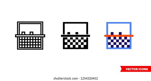 Cleanup noise icon of 3 types: color, black and white, outline. Isolated vector sign symbol.