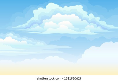 Clear blue daytime sky with clouds. Vector illustration.