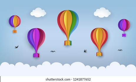 Clear blue sky with clouds, flying birds, rainbow-colored hot air balloons. Swallows flying in the sky. Paper craft summer scenery background. Cute cartoon wallpaper. Vector Illustration.