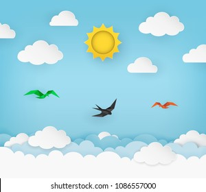 Clear blue sky with sun, clouds and flying birds. Swallow flying in the sky. Cloudy scenery background. Paper and craft style. Origami birds. Clean and minimal design. Vector Illustration.