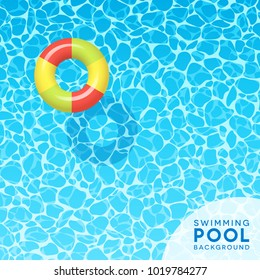 Clear blue swimming pool water background with floating swim ring. For banners, brochures, invitations about spring break, travel, and summer. Vector illustration.