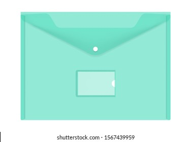 Clear colored plastic envelope folder with snap button and label pocket isolated on white background, realistic vector illustration. Transparent file holder, mockup.