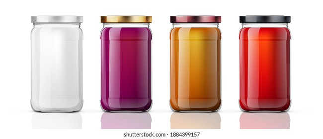 Clear Full Glass Jar For Branding. EPS10 Vector