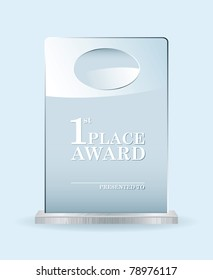 Clear glass award with room to add your own name or company