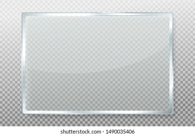 Clear glass banner. Clear signage made of glass with realistic reflections.
