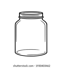 Clear glass jar with lid.Vector illustration isolated on white background.