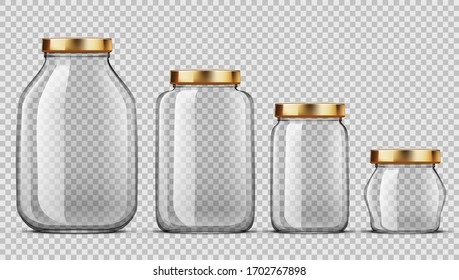 Clear Glass Jars For Canning And Preserving Set. EPS10 Vector