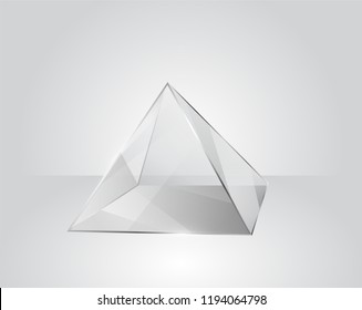 Clear glass pyramid on a modern gray background in vector Illustration EPS10