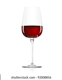 Clear glass with red wine on a white background
