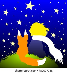 a clear illustration of the little Prince with Fox looking at the stars