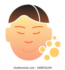 Clear man face flat icon. Skin care color icons in trendy flat style. Open pores gradient style design, designed for web and app. Eps 10